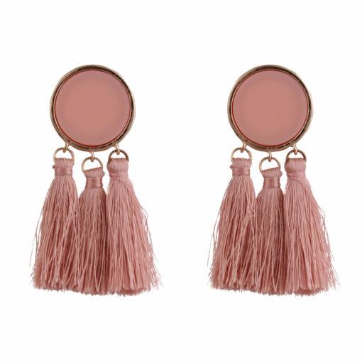 Beige Cream Tassels Earrings 01