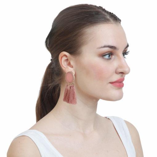 Beige Cream Tassels Earrings 02