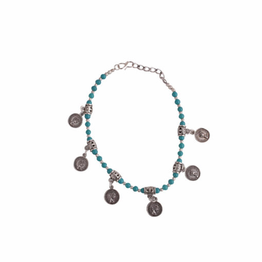 Coin and Bead Single Anklet 01
