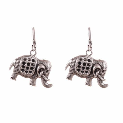 Cute Mini Silver Elephants Earrings 01
