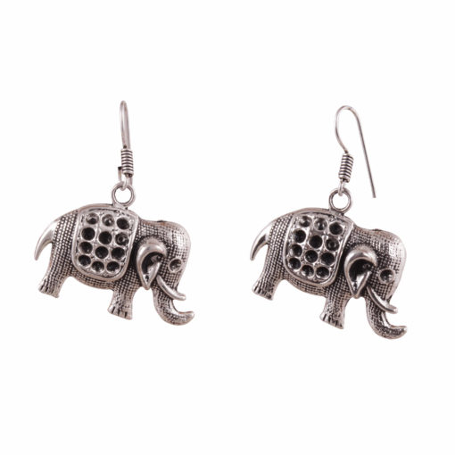 Cute Mini Silver Elephants Earrings 02