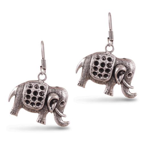 Cute Mini Silver Elephants Earrings