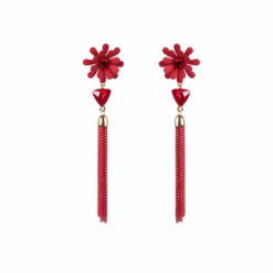 Dazzling Daisy Red Earrings For Women 01