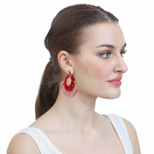 Dual toned mini tassel studs Earrings 02