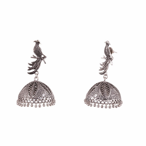 Exquisite Sitting Bird Jhumka Earrings 02