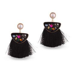 Faux Multi Stone Black Tassels Earrings