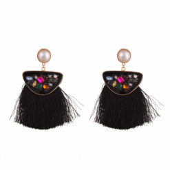 Faux multi stone black tassels Earrings 01