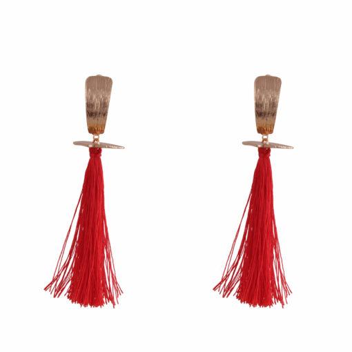 Fiery Red & Gold Tassels Earrings 01