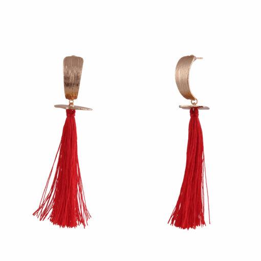 Fiery Red & Gold Tassels Earrings 02
