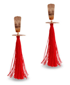 Fiery Red & Gold Tassels Earrings