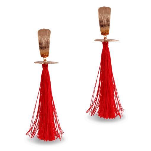 Fiery Red & Gold Tassels Earrings