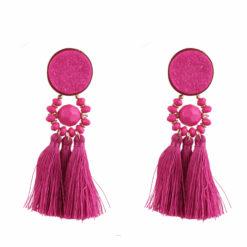 Fuchsia tasseled earrings 01