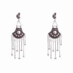 German Silver Shield & Chains Earrings 01