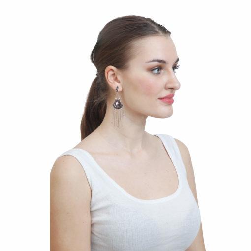 German Silver Shield & Chains Earrings 02