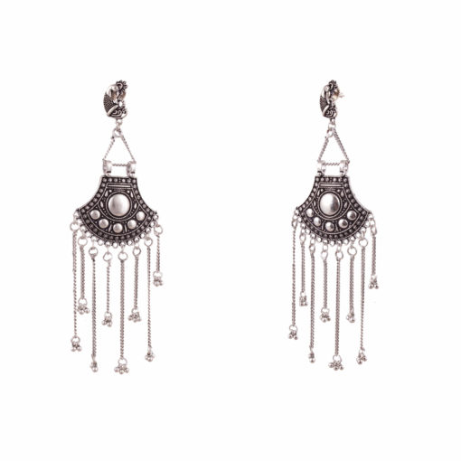 German Silver Shield & Chains Earrings 03