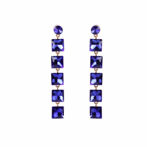 Girl on Fire Dangling Blue Earrings 01