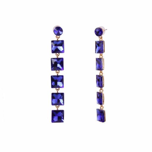 Girl on Fire Dangling Blue Earrings 02