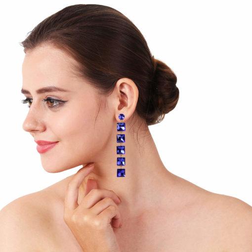 Girl on Fire Dangling Blue Earrings 03