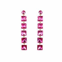 Girl on Fire Dangling Pink Earrings 01