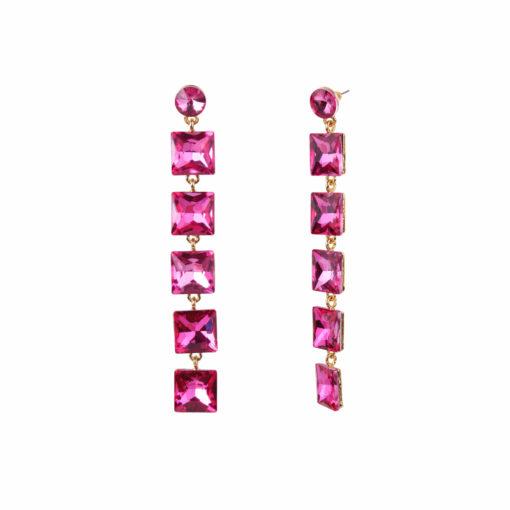 Girl on Fire Dangling Pink Earrings 02