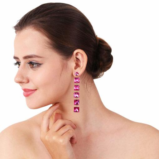 Girl on Fire Dangling Pink Earrings 03