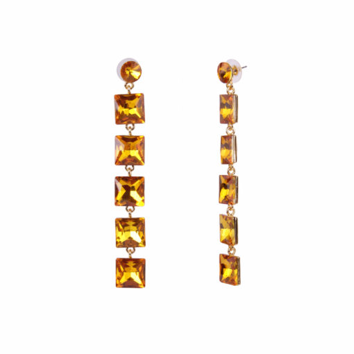 Girl on Fire Dangling Yellow Earrings 01