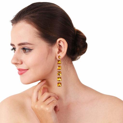 Girl on Fire Dangling Yellow Earrings 03
