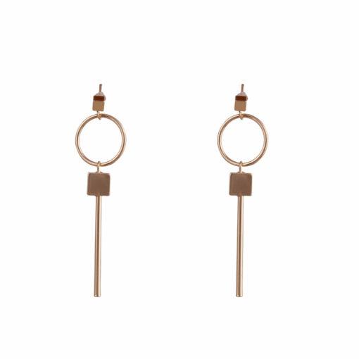 Gold hoops & squares Earrings 01
