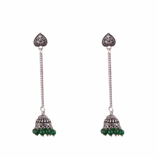 Green jhumka with heart Earrings 01