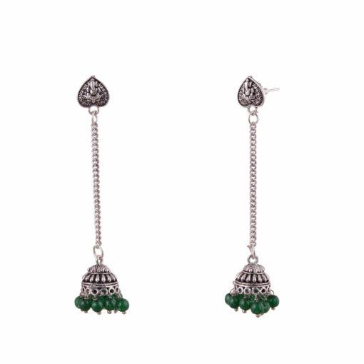 Green jhumka with heart Earrings 02