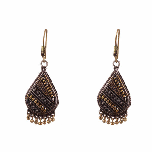 Oxidised Gold & Silver Teardrops Earrings 01