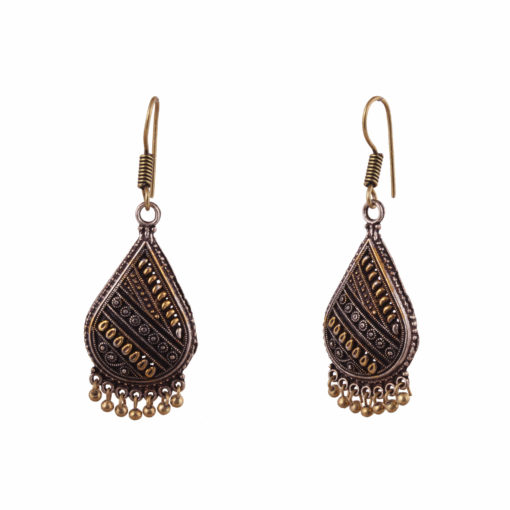 Oxidised Gold & Silver Teardrops Earrings 02