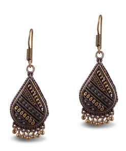 Oxidised Gold & Silver Teardrops Earrings
