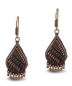 Oxidised Gold & Silver Teardrops Earrings