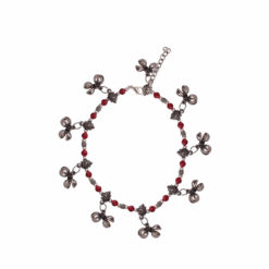 Scarlet and Silver Prayer Bells Anklet 01