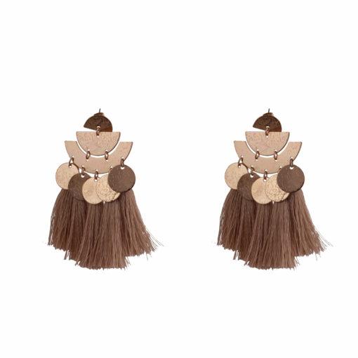 Shiny Beige Tassels Earrings 01