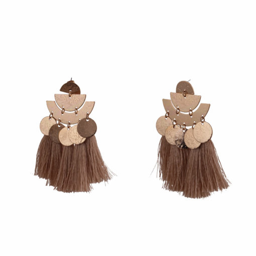 Shiny Beige Tassels Earrings 02