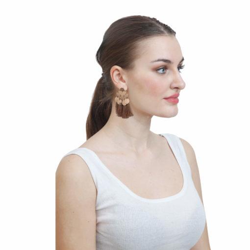 Shiny Beige Tassels Earrings 03