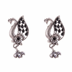 Silver Black Peacock Earrings 01