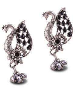 Silver Black Peacock Earrings
