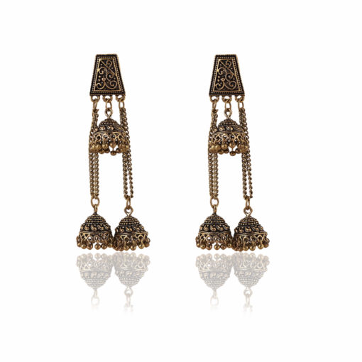 Antique Layered Jhumkis Earrings 01