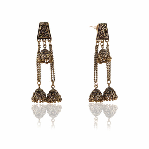 Antique Layered Jhumkis Earrings 02