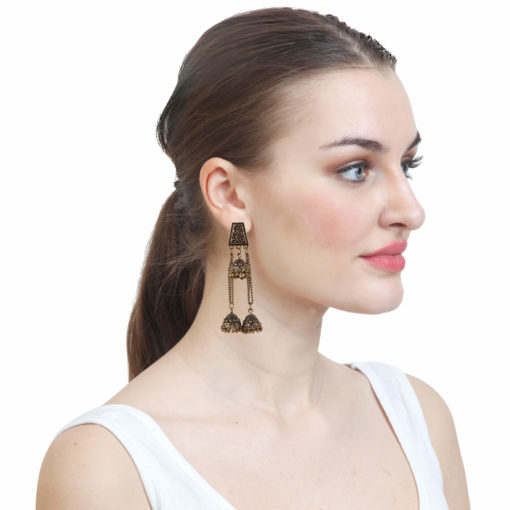 Antique Layered Jhumkis Earrings 03