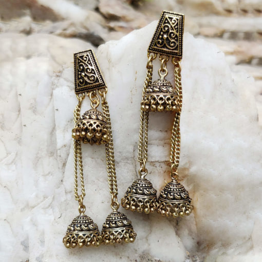 Antique Layered Jhumkis Earrings