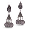 Antique Silver Coin and Triangles Earrings