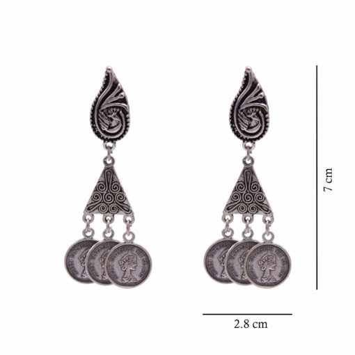 Antique Silver Coin and Triangles Earrings 4