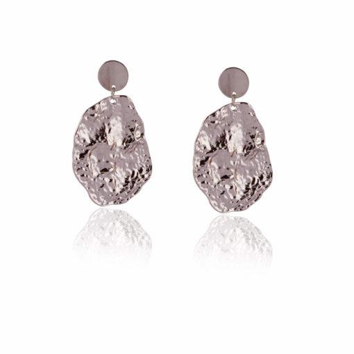 Crumpled silver dollops earrings 01