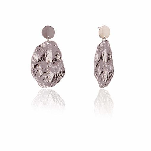 Crumpled silver dollops earrings 02