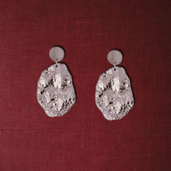 Crumpled silver dollops earrings 05