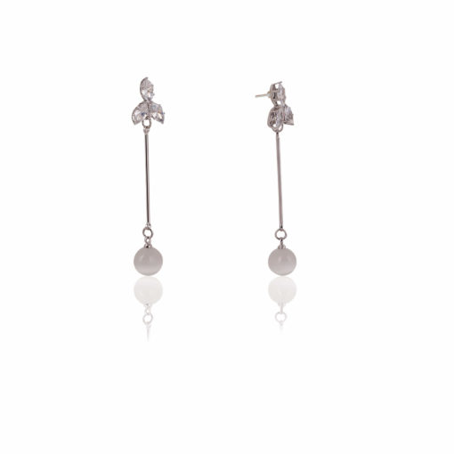 Dainty Petals and Silver Orbs Earrings 02